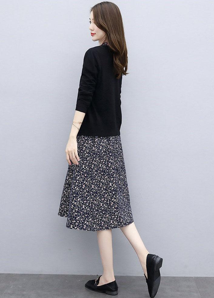 QX311BL - Đầm kèm áo khoác Cotton Xanh dương đậm